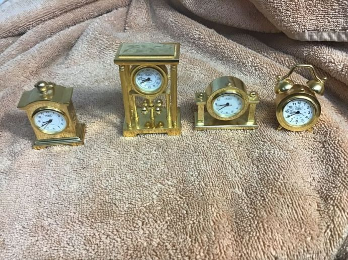 4 Different Tiny Clocks- Gold- Collectable