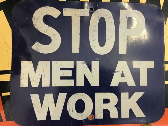 Vintage Heavy Metal STOP Men At Work Sign