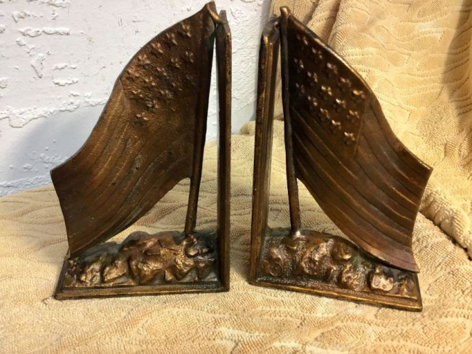 American Flag Copper Bookends Vintage- Large