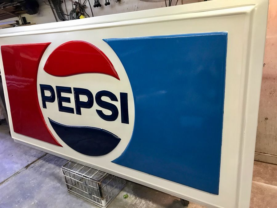 Vintage pepsi sign restored huge 4 ft tall x 8 ft long the huge pepsi sign sciox Image collections